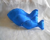 Stuffed Soft Toy Felt Fish ( 3 white and blue)