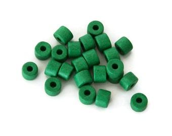 Greek Ceramic Beads, Green Ceramic Beads, Green Ceramic Tubes  C 10 147