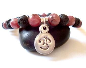 Silver Om Yoga Bracelet, Purple Howlite, Lava Rock, Sterling Silver Om Charm, Beaded Bracelet