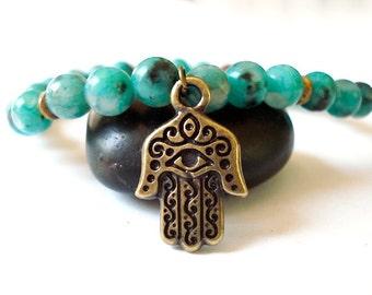 Hamsa Hand Bracelet, Green Howlite, Brass Hamsa Hand, Beaded Yoga Bracelet