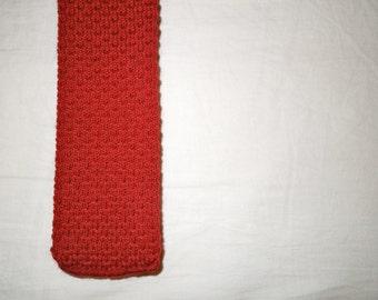 Red Knit Wedge Skinny Tie