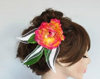 Bridal Hair Flower, Spring Weddings Headddress Head Piece Peach Fuschia Silk Peony, Unique Bridal Flower Hairpiece, Romantic Spring Wedding