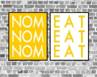 Modern Quirky Kitchen Art Poster - Nom Eat - Funny Typographic Digital Art Prints - Yellow White Home Decor