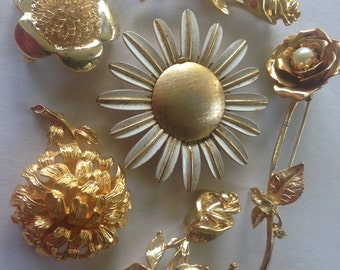 Flower Brooches Retro Vintage Lot 481