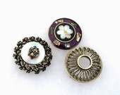 Vintage Brooches: Silver, MOP, Holographic, 3 Brooches, Brooch Collection