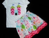 2 piece girl, toddler, baby princess castle, hot pink chevron fabric SKIRT and enchanted pink, purple and blue castle appliqued shirt NB -16