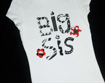 Big sis shirt - Tween, girl, toddler, baby black and white chevron, zebra red polka dot personalized shirt -  welcome new baby NB - 16