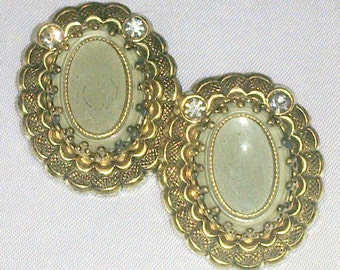 Vintage West Germany Glass and Rhinestone Earrings
