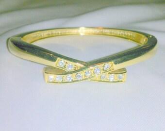 Vintage Hinged Rhinestone Bangle Bracelet