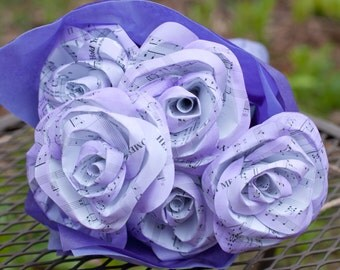 Half Dozen Hand Painted Paper Roses Music or Book Page