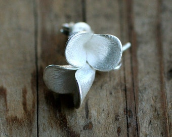 Floral Pods Single Earstuds, cast silver earrings on posts