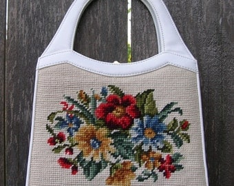 Vintage Purse CARRY A BOUQUET White Faux Leather and Needlepoint