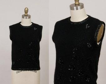 1960's black beaded sweater