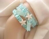 Beach Wedding Garter Set   Starfish Garter  Destination Wedding Blue Garter Toss Garter / Garter Belt / Garder