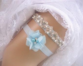 Blue Garter Wedding Garter  Prom Garter  Rhinestone Garter / Crystal Garter / Toss Garter / Garter Belt / Garder
