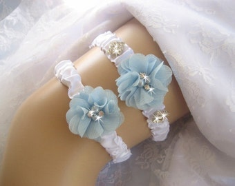 Wedding Garter, Ready to Ship White Garter Set with Toss Garter in Something Blue and White