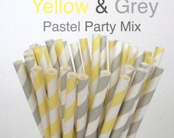 Paper Straws Pastel Yellow & Grey Mix Paper Drinking Straws Cake Pop Sticks Mason Jar Paper Straws Wedding, Birthdays
