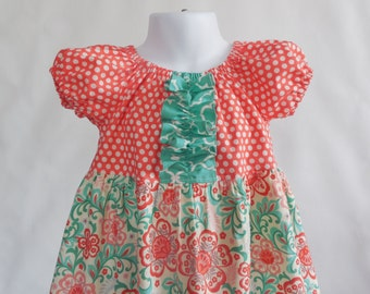 Girl's Infants Toddlers Peasant Dress  - Spring Coral and Green Floral