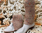 1980s Sweater Boots Unisa Oatmeal Knit Roll Over Ankle Cream 7.5 Narrow Womens Vintage Shoes
