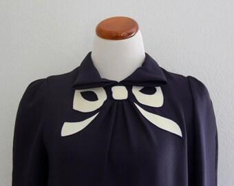 1980s Frank Tignino Bow Dress Navy Blue Career Jerry Silverman Large