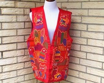1970s Southwest Vest Boho Red Native American Symbols Oversized Hieroglyphics Womens Vintage Extra Large