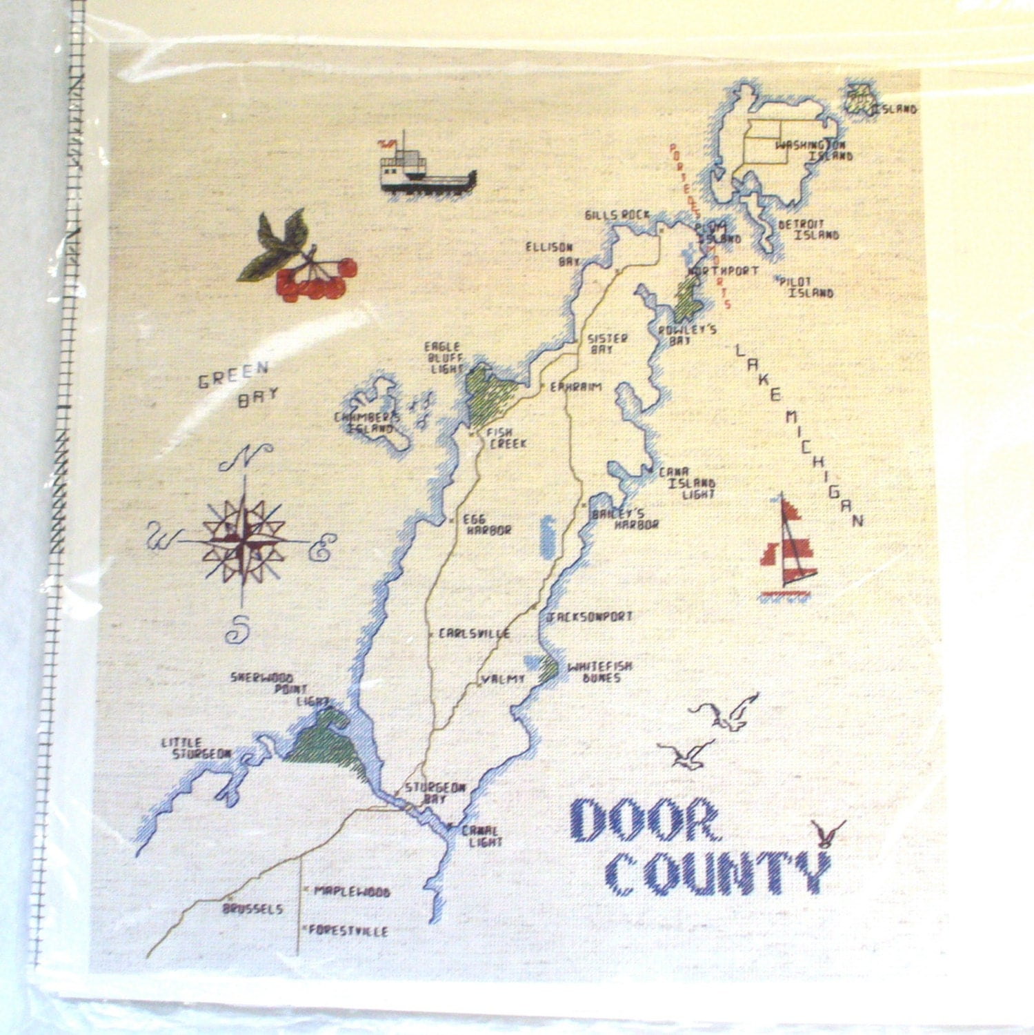 It is a picture of Ambitious Door County Map Printable
