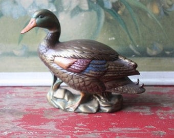 Vintage Ceramic Duck, Vintage Paper Weight, Vintage Library Decor, Vintage Birds