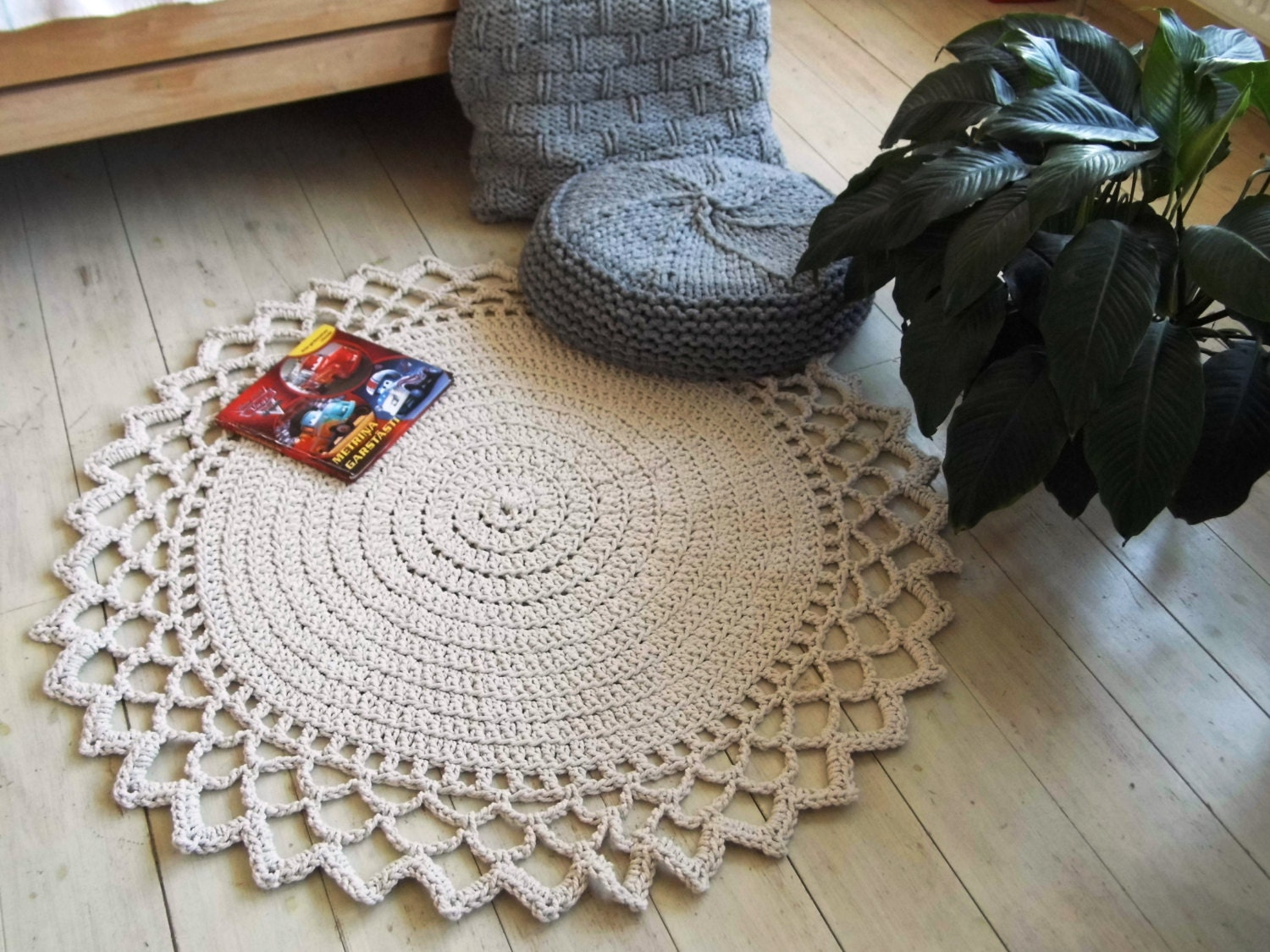 Crochet Rope Giant Doily Rug 100% Cotton 47 120 cm
