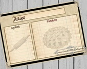 Rustic Recipe Cards 4x6 Sepia Pie Printable 3x5 Recipe Card Country Kitchen