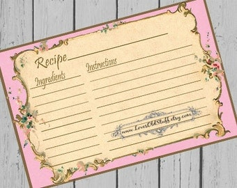 Pink Printable Recipe Card Template 3x5 | 3.5x5 Blank Recipe Cards | 4x6 Recipe Card For Bridal Shower | Hostess Gift Ideas