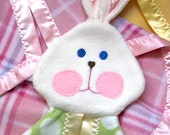 Green polka dot Fisher Price puppet bunny replica security blanket