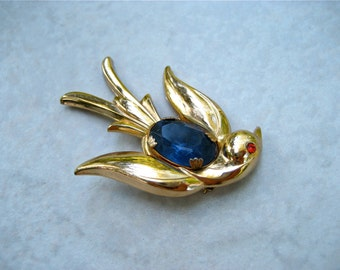 Vintage Coro Bird Brooch Gold Tone Swallow Blue Rhinestone