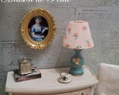 Dollhouse Miniature 1:12 Scale OOAK French cottage shabby chic table lamp - teal with roses