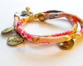 Vegan Double wrap Japanese Crepe Bracelet, Charms, BOHO, OOAK, funky