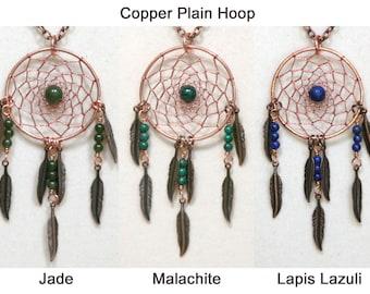 Dream Catcher Lapis Lazuli, Malachite, Jade & Copper Dreamcatcher Necklace with Feathers