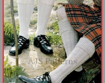 PDF Knitting Pattern For Scottish Kilt Socks/Hose With a Choice of 2 Designs of Tops - Instant Download