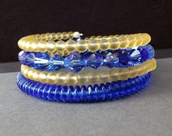 Blue and Yellow Wrap Bracelet:  Vibrant Cobalt Galaxy Blue and Gold Yellow Stacked Extra Wide Cuff, Arm Candy, Wrist Party