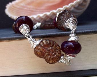Cranberry Beaded Bracelet:  Plum Purple Nautilus Shell  Autumn Beach Jewelry, Fine Silver Wire Wrapped Fall Accessory