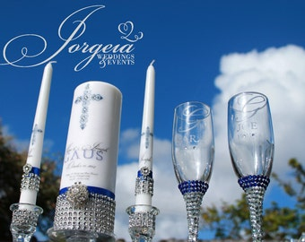 United in Christ......Something Blue Unity Candle set, Candle Holders, Flutes, Cake Server, Cake Knife, Wedding Decor, Champagne Glass