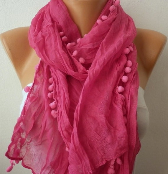 Hot Pink Pompom Scarf  Summer Shawl  Birthday Gift,Beach Wrap,  Cowl Scarf Gift Ideas For Her Women Fashion Accessories