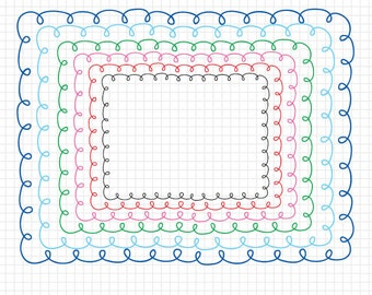 """Doodle Rainbow Border Frames - 8.5x11"""" Size Doodled Borders - Royalty Free Instant Download"""