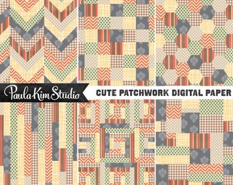 80% OFF SALE Patchwork Digital Paper Downloadable Images Digital Clip Art Commercial Instant Download Graphics
