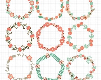 Flower Wreath Clipart Circle Frame Wedding Clip Art Digital Download