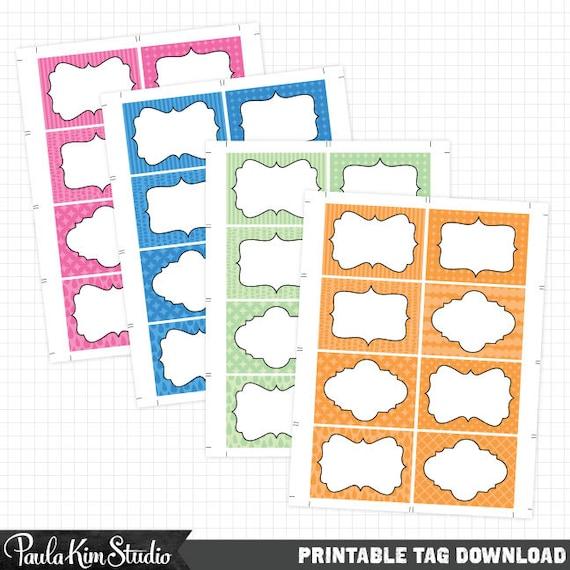 Printable Business Card Size Labels Instant Digital Download
