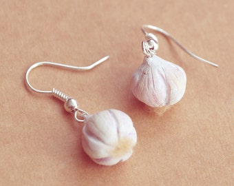 GARLIC Earrings, Miniature Food Jewelry, Pefect Gift for Cooks, Chefs and Vampire Hunters
