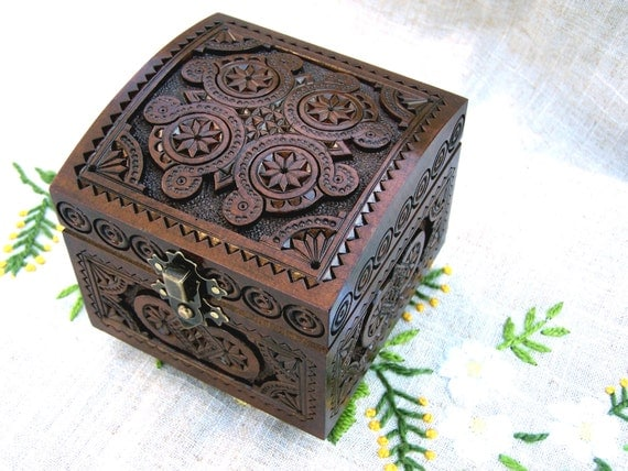 Dark jewelry box wooden box ring box carved wood by for How to carve a wooden ring