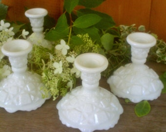 Vintage Westmoreland Milk Glass Candlestick Set / Old Quilt White Glass Candle Holders / Wedding Candlesticks / Wedding Decor
