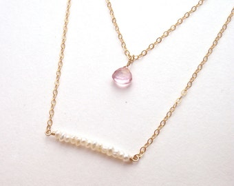Mystic Pink Topaz & Freshwater Pearl Beaded Bar - Layered Sea Breeze Necklace - 14k Gold Fill or Sterling Silver - Set of 2 Necklaces