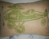 Vintage  Airplane Burlap Pillow, Green, Aviation Accent, Nursery, INSERT INCLUDED