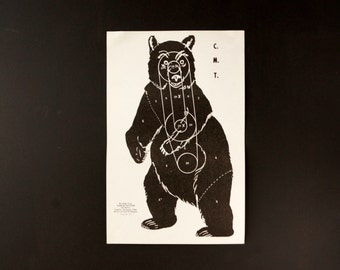 Vintage Black Bear Shooting Target, 11 x 17 inches (c.1970s) - Collectible, Home Decor, Paper Projects, and more